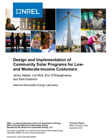 Design and Implementation of Community Solar Programs for Low- and Moderate-Income Customers