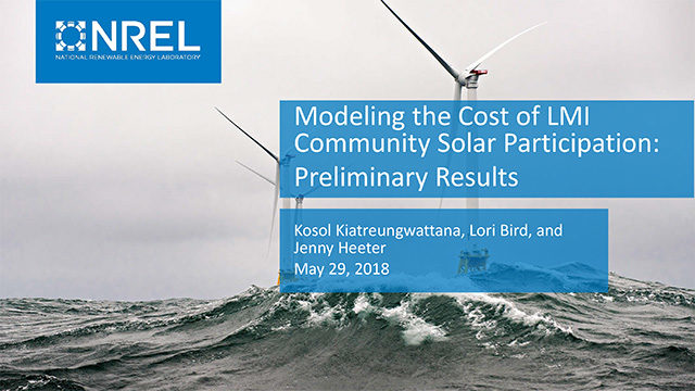 Cover image for resource: Modeling the Cost of LMI Community Solar Participation: Preliminary Results