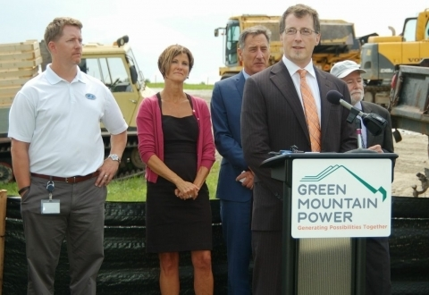Clean Energy States Alliance's ESTAP Project Director, Todd Olinsky-Paul, discusses the energy storage component of the Stafford Hill Project with other guest speakers at the project's press event, including Mary Powell, President of Green Mountain Power, Vermont Governor Peter Shumlin, and Dr. Imre Gyuk of the US Department of Energy.